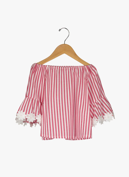 Vierra Rose Ivana Big Sleeve Top in Red and White Stripe - FINAL SALE