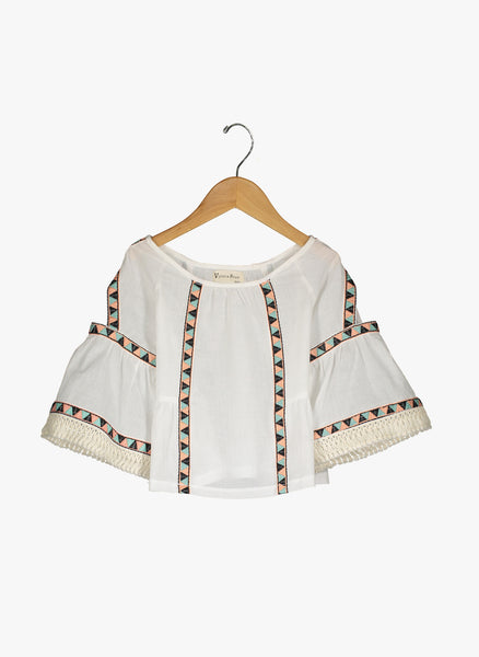 Vierra Rose Britta Cold Shoulder Trim Top in Ivory - FINAL SALE