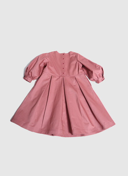 Tia Cibani Billow Sleeve Smock Dress in Goji