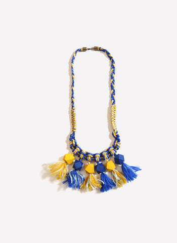 Tia Cibani Braided Beaded Fringe Necklace in Azul Mix