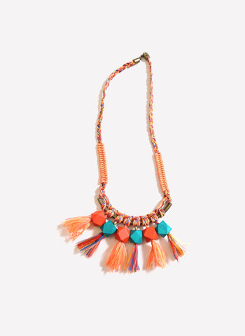 Tia Cibani Braided Beaded Fringe Necklace in Carmen Mix