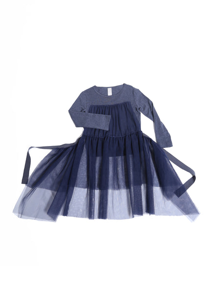 Tia Cibani Classic Tulle Apron T-shirt Dress in Lapis - FINAL SALE