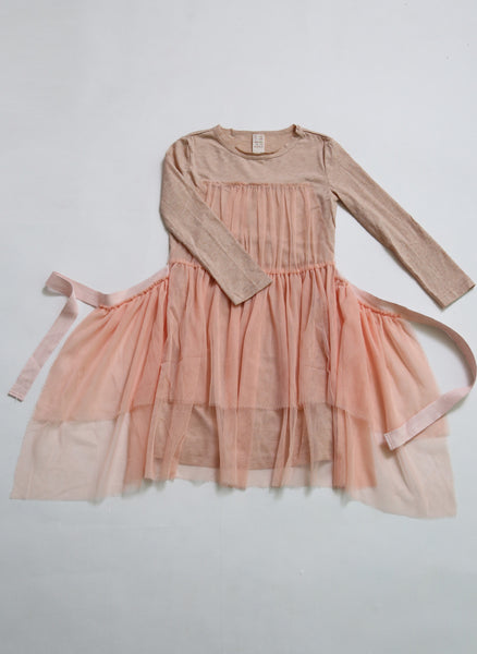Tia Cibani Kids Classic Tulle Apron Dress in Guava - FINAL SALE