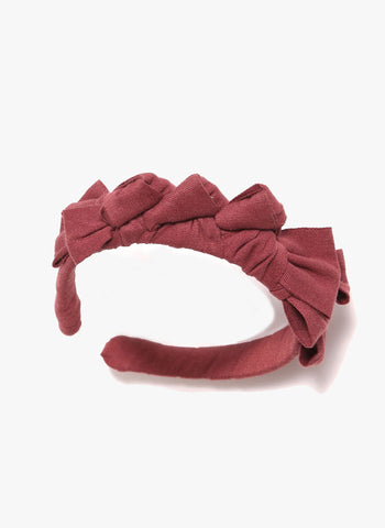 Tia Cibani Knotted Ribbon Headband in Berry - PRE-ORDER