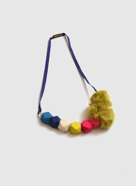 Tia Cibani Pom Pom Bead Necklace in Indigo