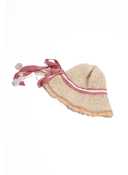 Tia Cibani Rachel Straw Bonnet in Goji - FINAL SALE