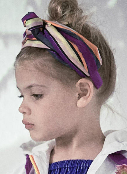 Tia Cibani Striped Turban Headband In Papaya Mix - FINAL SALE