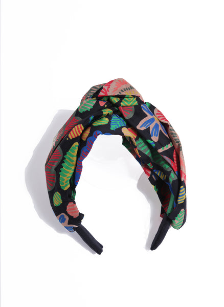 Tia Cibani Striped Turban Headband in Matyo Floral - FINAL SALE