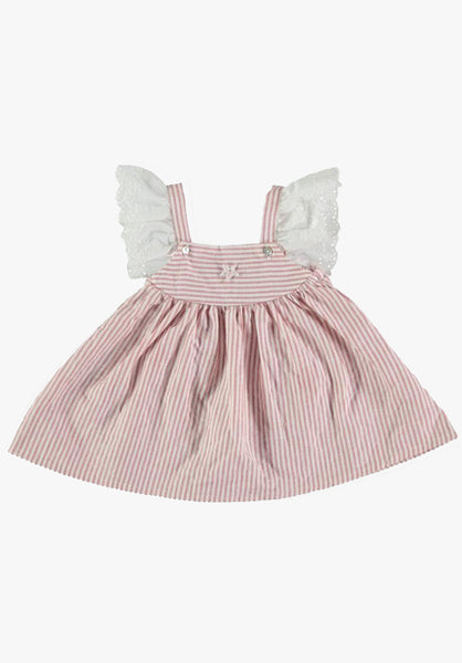 Tocoto Vintage Baby Striped Dress with Embroidery in Pink - FINAL SALE
