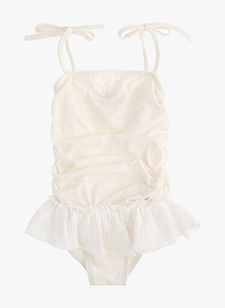 Tocoto Vintage Swiss Embroidery Swimsuit in Off White