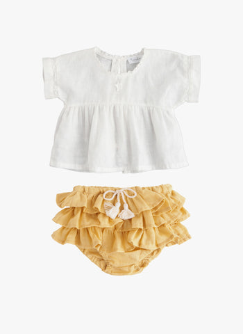 Tocoto Vintage Baby Ruffles Chambray Bloomer in Mustard -  FINAL SALE