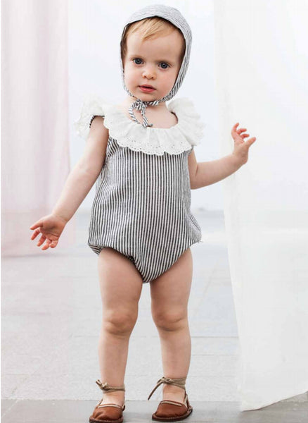 Tocoto Vintage Baby Bodysuit with Embroidery in Navy - FINAL SALE