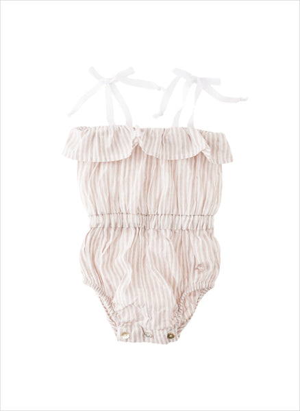 Tocoto Vintage Baby Denim Ruffle Romper in Pink - FINAL SALE