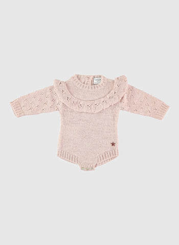 Tocoto Vintage Baby Knitted Baby Onepiece in Pink - FINAL SALE