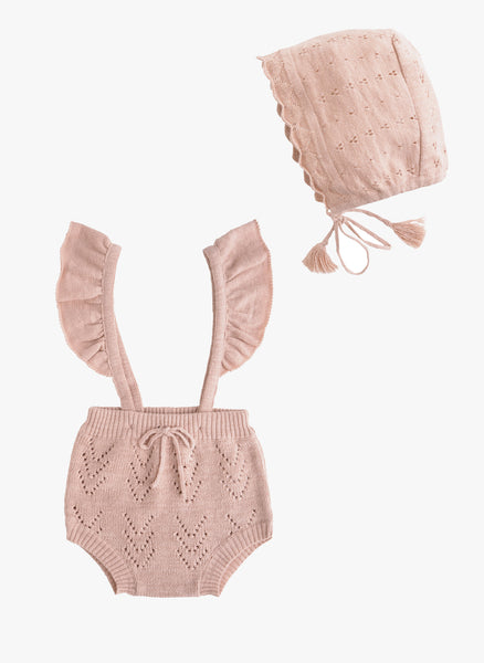 Tocoto Vintage Baby Knitted Romper in Pink -  FINAL SALE