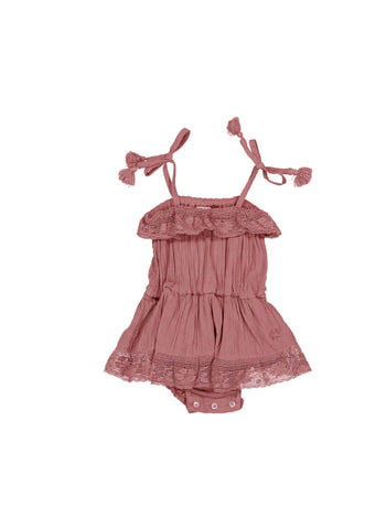 Tocoto Vintage Baby Romper in Pink - FINAL SALE