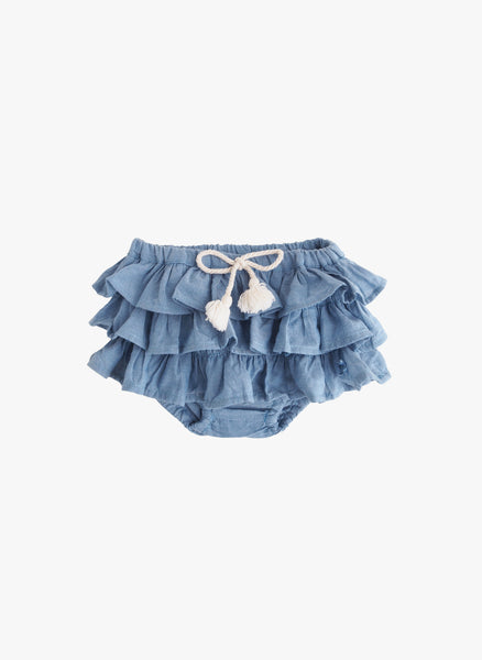 Tocoto Vintage Baby Ruffles Chambray Bloomer -  FINAL SALE