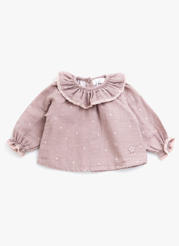 Tocoto Vintage Baby Star Blouse in Pink - FINAL SALE