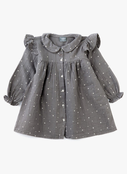 Tocoto Vintage Baby/ Little Girl Star Dress in Grey - FINAL SALE