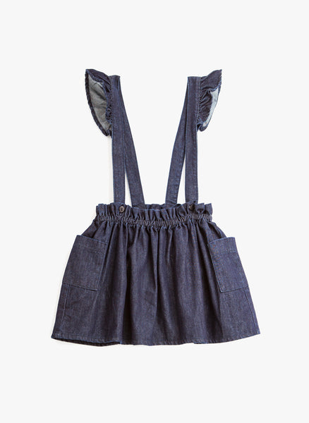 Tocoto Vintage Denim Mini skirt w/ Suspenders in Blue - FINAL SALE