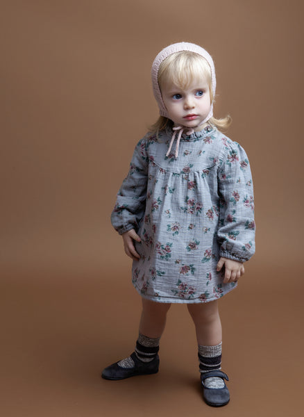 Tocoto Vintage Flower Print Baby Dress in Grey