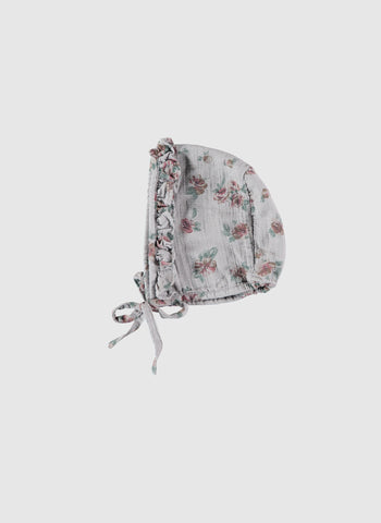 Tocoto Vintage Flower Print Bonnet in Grey - FINAL SALE