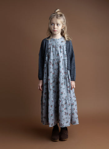 Tocoto Vintage Flower Print Long Dress in Grey