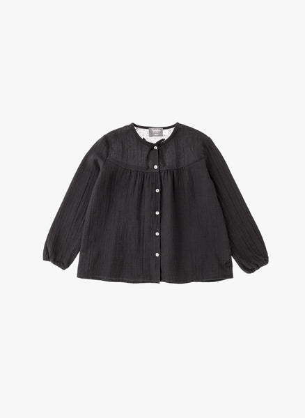 Tocoto Vintage Girl Tulle Blouse in Black - FINAL SALE
