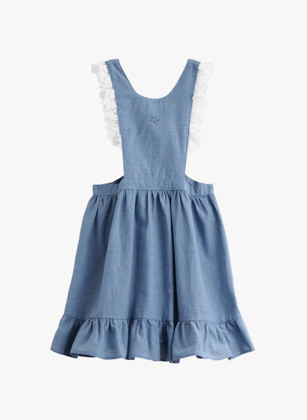 Tocoto Vintage Girls Chambray Dress with Lace Details - FINAL SALE