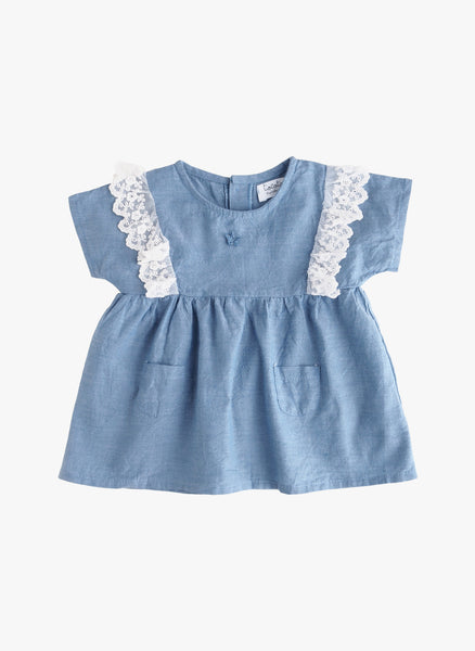 Tocoto Vintage Girls Chambray Lace Dress -  FINAL SALE