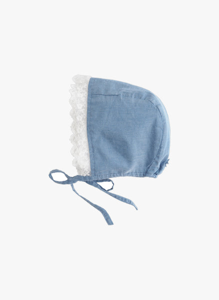 Tocoto Vintage Girls Chambray Lace Hat -  FINAL SALE