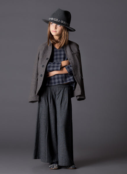 Tocoto Vintage Girls Flannel Skirt-Pant Skorts in Grey - FINAL SALE
