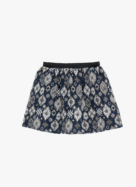 Tocoto Vintage Girls Jacquard Skirt in Navy - FINAL SALE