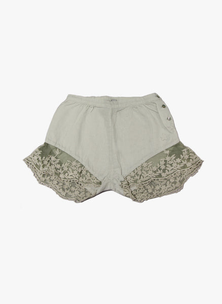 Tocoto Vintage Girls Lace Bottom  Shorts in Grey - FINAL SALE