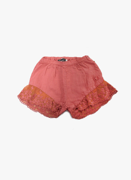 Tocoto Vintage Girls Lace Bottom Shorts in Pink