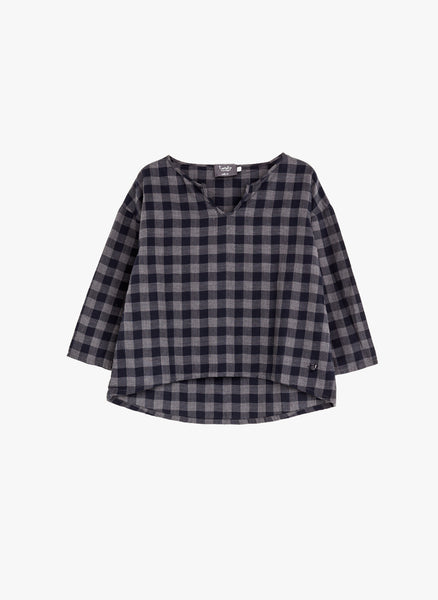 Tocoto Vintage Girls Plaid Blouse in Navy - FINAL SALE