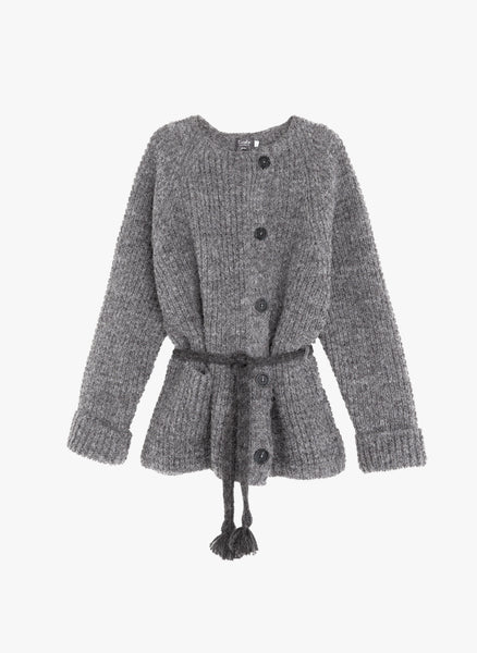 Tocoto Vintage Unisex Kids Knitted Jacket in Dark Grey - FINAL SALE