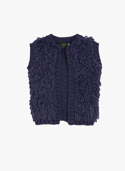 Tocoto Vintage Kids Knitted Vest in Navy - FINAL SALE