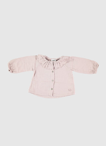 Tocoto Vintage Plain Blouse with Ruffles in Pink
