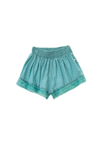 Tocoto Vintage Plumeti Shorts in Green - FINAL SALE
