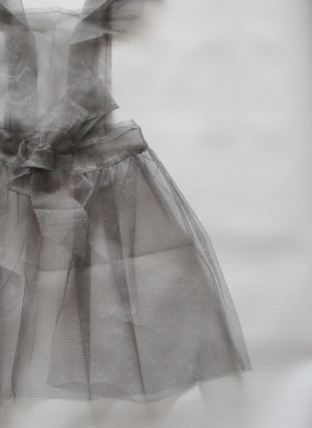 Tocoto Vintage Tulle Apron Dress in Grey - FINAL SALE