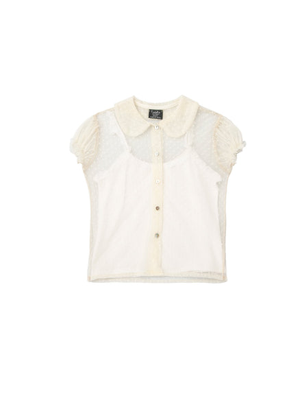 Tocoto Vintage Tulle Peter-Pan Blouse in Off- White - FINAL SALE