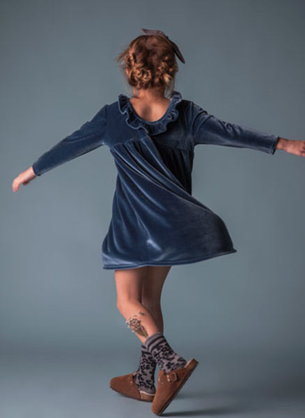 Tocoto Vintage Velvet Dress in Blue - FINAL SALE