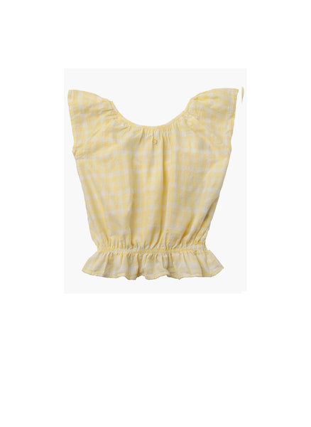 Tocoto Vintage Vichy Squares Blouse in Yellow - FINAL SALE