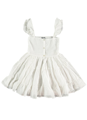Tocoto Vintage Voile Dress with Lace with straps in Off-White