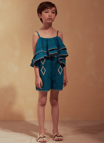 Tuchinda Landra Jumpsuit in Mykonos Blue - FINAL SALE