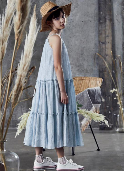 Ujala Tiered Maxi Dress in Ice Blue Lurex