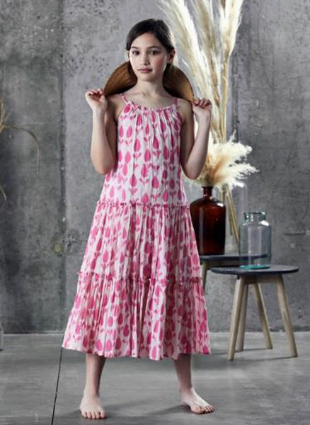 Ujala Tiered Maxi Dress in Pink Batik