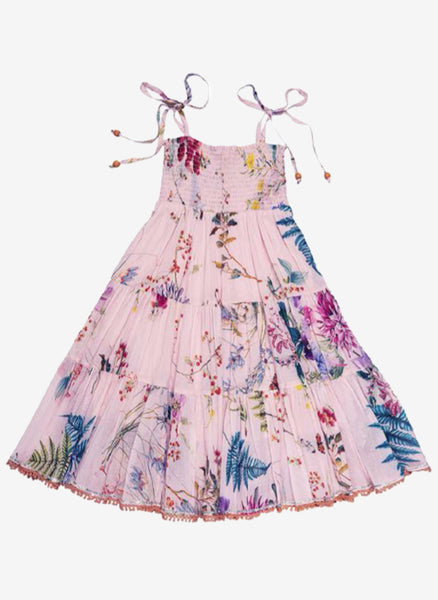 Ujala Smocked Chest Tiered Maxi Dress in Pink Floral - FINAL SALE