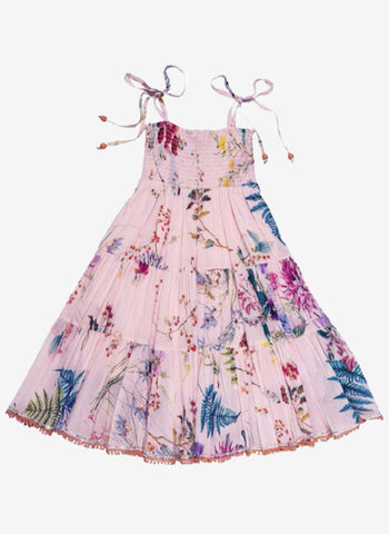 Ujala Smocked Chest Tiered Maxi Dress in Pink Floral